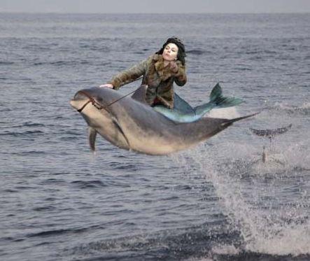 Scarlett Johansson Riding Dolphin  ---- funny pictures hilarious jokes meme humor walmart fails
