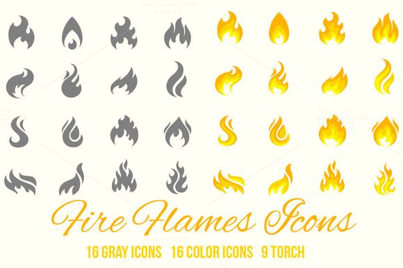 Fire flames vector icons by Macrovector on Creative Market