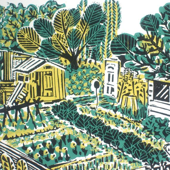 Allotment Plot Linocut Relief Original Print by Zebedeeprint