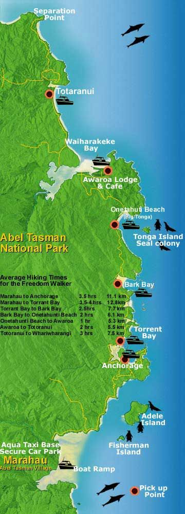 Map of Abel Tasman National Park