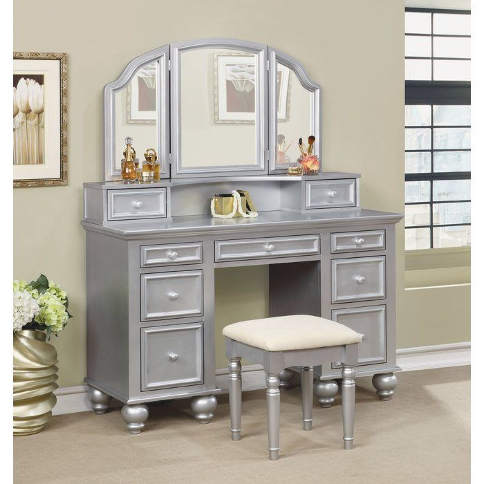 Anthonyson Transitional Vanity Set With Stool And Mirror Bedroom Vanity Set Vanity Table Set Vanity Set