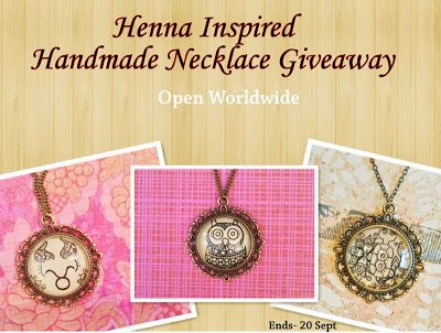 International Giveaways: My Giveaway: Win a Henna Inspired Handmade necklace- Open for All