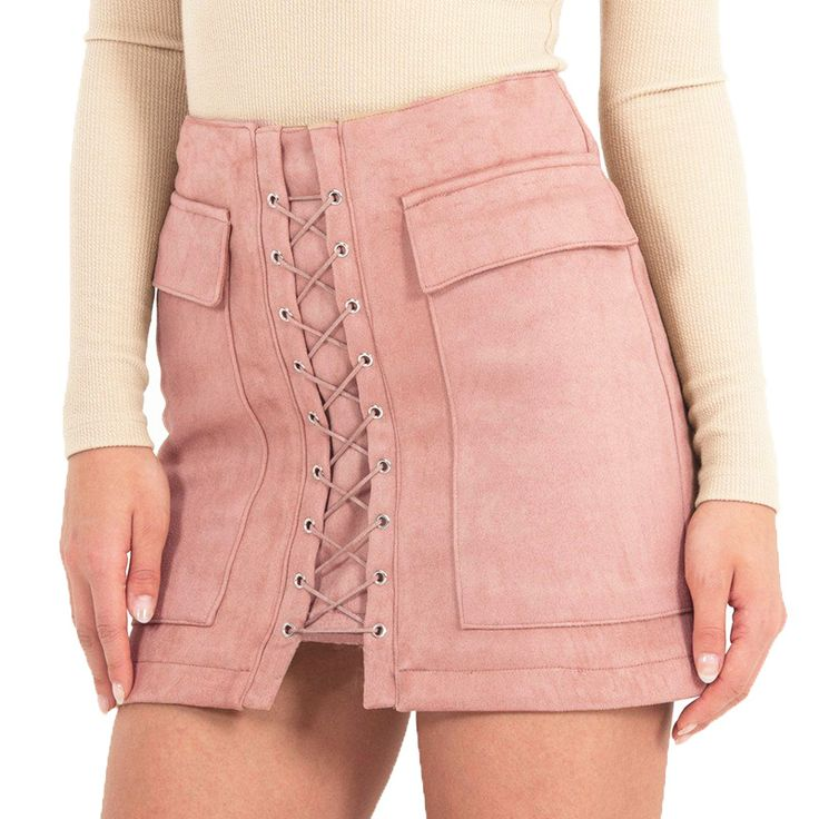 Smoves High Waist External Pocket Tight Suede Lace Up Mini Skirt //Price: $29.90 & FREE Shipping //     #hashtag2