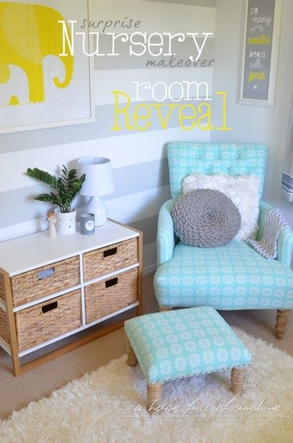 A house full of sunshine: Theo's surprise nursery makeover Part Two: room reveal!  (Striped wall stenciled using painters tape)