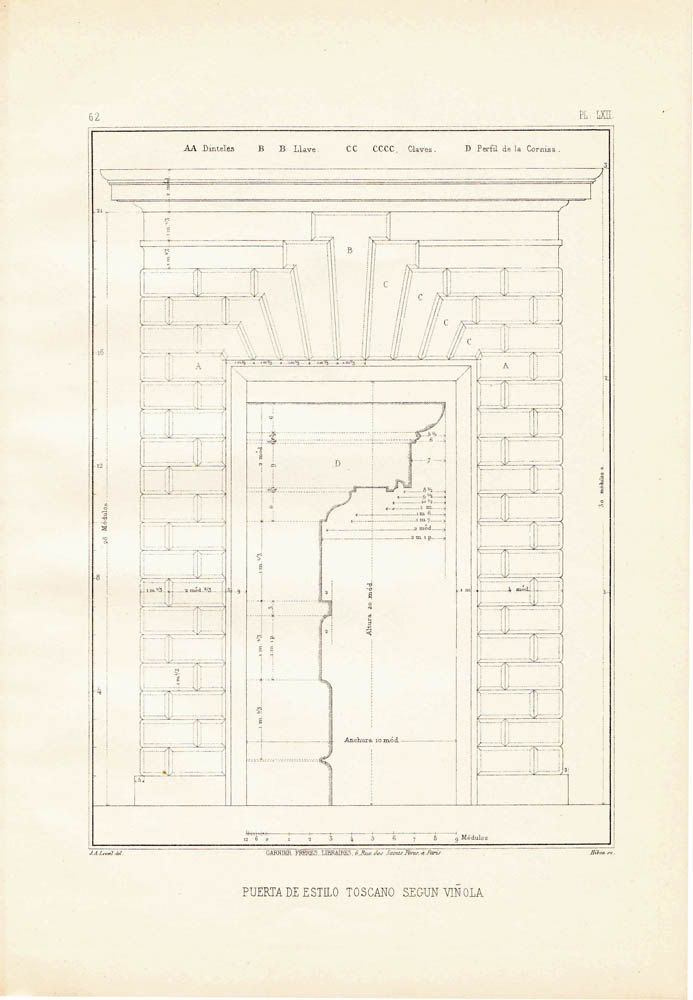 Tuscan order door according to Giacomo Vignola. This vintage classical architectural plate was reproduced as a steel engraving and published in the 1920s