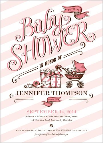 in honor of girl baby shower invitation
