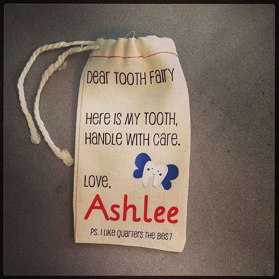 Muslin bag from @PickYourPlum   Tooth Fairy muslin bag  Personalized with your child's by HugsLove, $5.00