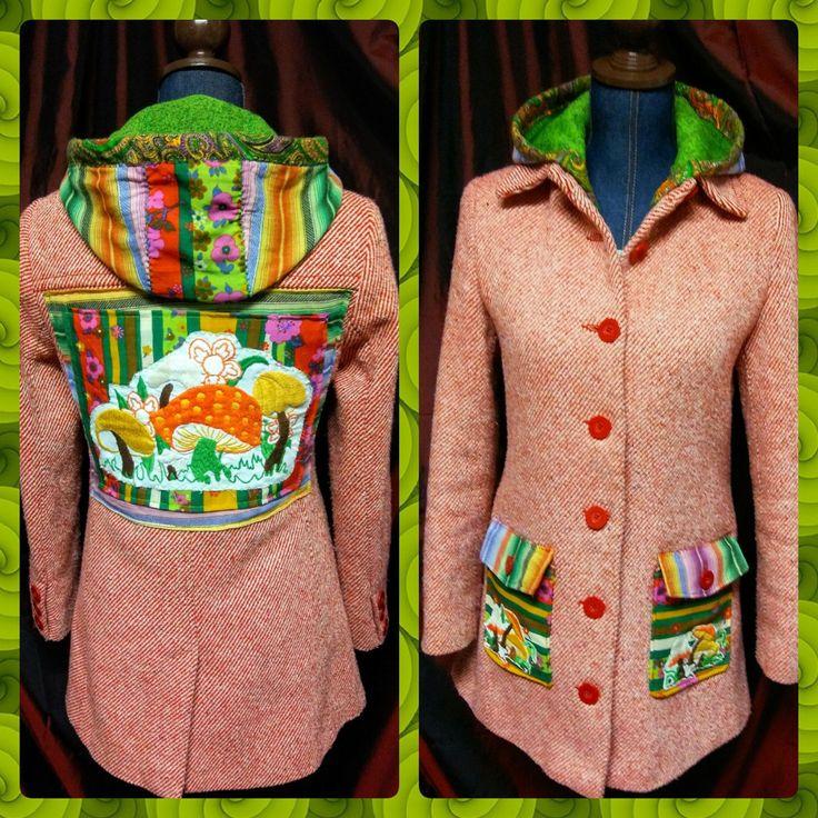 Warm hooded hippie festival coat jacket refashioned upcycled with embroidered mushroom apliques by RefashionRiffRaffery on Etsy