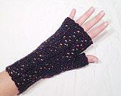 Preto Tweed Lã Crochet luvas sem dedos