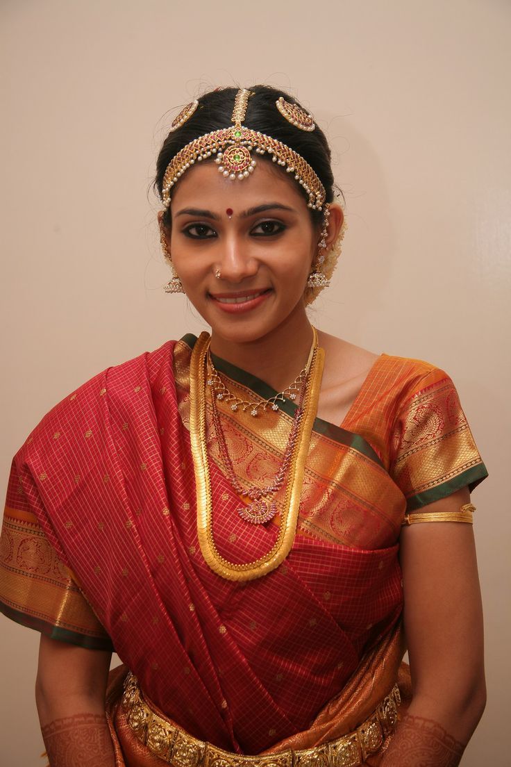 Tamil Iyer Bride With Temple Jeweleries