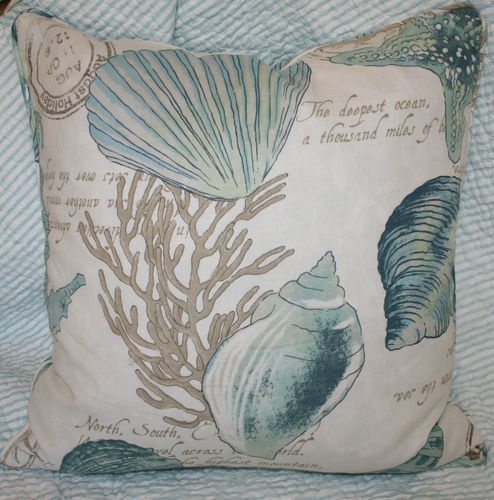 Seashell Accent Pillow~Aqua~Cream~Square~Tropical~Coastal~Nautical~Ocean~Beach