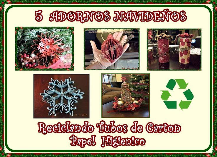 5 adornos navideños reciclando tubos de papel higiénico