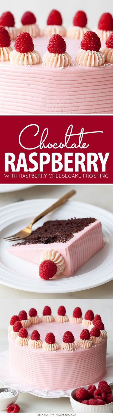 Chocolate Raspberry Cake - moist chocolate cake layered with raspberry jam, topped with raspberry cheesecake frosting and fresh red raspberries | by Tessa Huff for http://TheCakeBlog.com