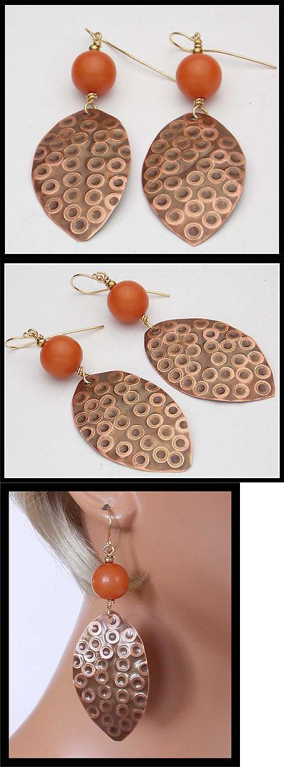 Earrings 98510: Tatiana - Handforged Textured Copper And Amber Resin Long Earrings -> BUY IT NOW ONLY: $32 on eBay!