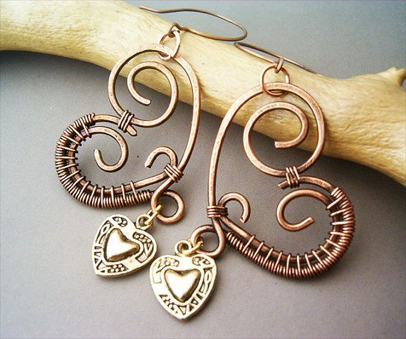 Wire Wrapped Heart Copper Earrings  wire wrapped by GearsFactory