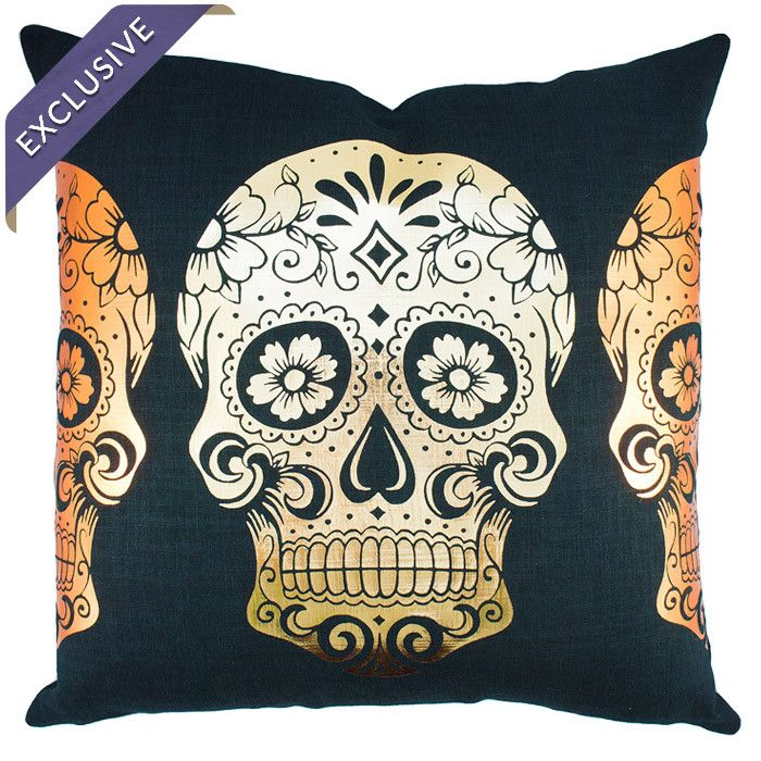 Calavera Pillow in Gold and Black