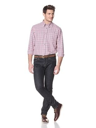 Viyella Men's Long Sleeve Plaid Shirt with Button-Down Collar