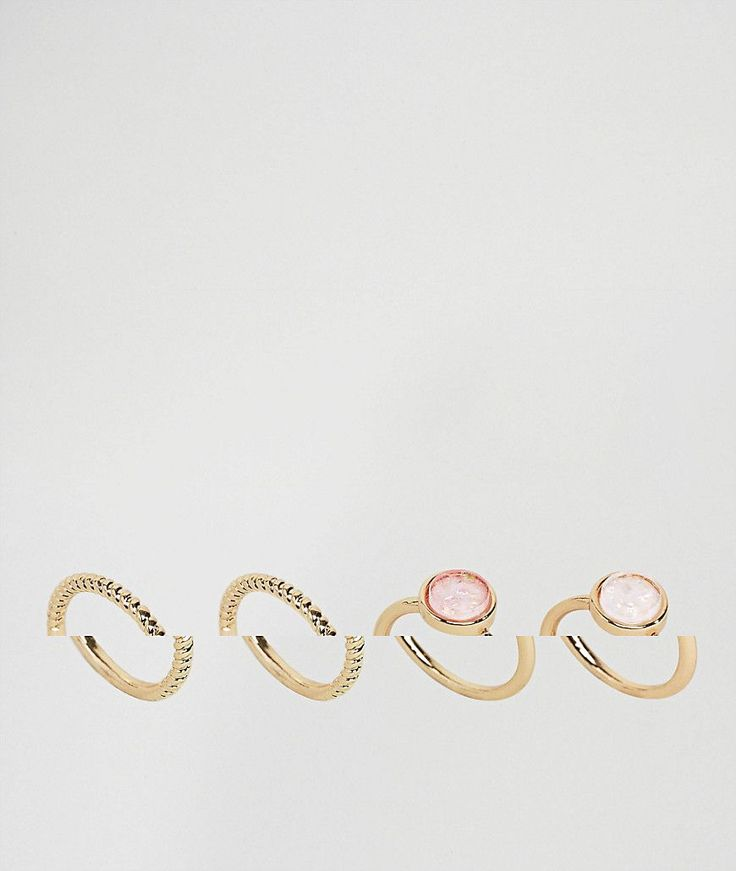 ASOS Pack of 4 Iridescent Rings - Gold