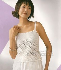 ladies top with shoulder straps crocheted