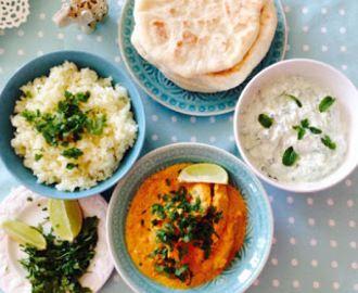 Indiai ebéd : Tandoori csirke, naan lepénykenyér, uborkás-mentás raita