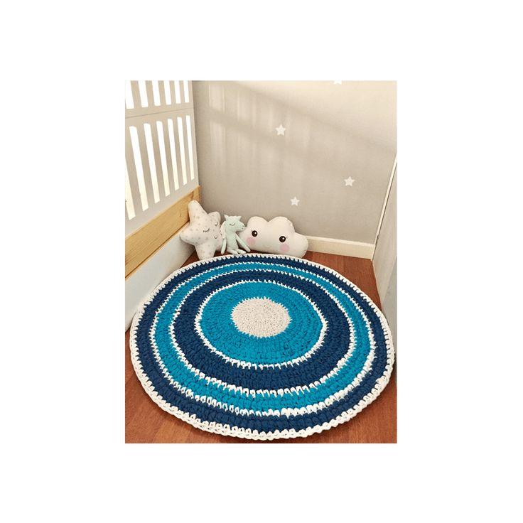 ermosa alfombra en tonos azules alborada en trapillo, ideal para decorar el cuarto de nuestro niño o niña, o para cualquier espacio de tu hogar, los colores son de acuerdo a la disponibilidad.