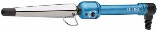 HOT TOOLS HTBL1852 Ice Titanium Large Tapered Curling Iron, Blue, 3/4 Inch to 1 1/4 Inches Barrel by Hot Tools. $35.00. HOT TOOLS blue ice titanium 1 1/4 inches tapered cone styling iron item number. HTBL1851 professional features, HOT TOOLS handle. Rheostat for variable temperature. Heats up to 430 degrees. Cool tip on each iron. Heat resistant glove packed in each box.. Save 38%!