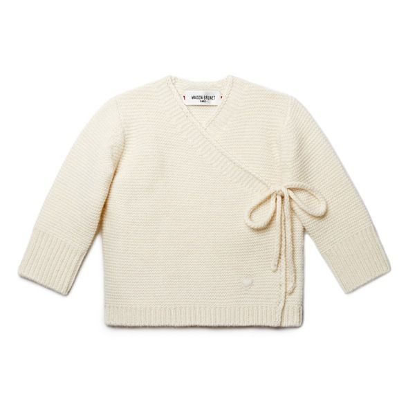 Cache-cœur bébé cachemire Sacha écru - MAISON BRUNET -  http://www.maisonbrunet.com/product/brassiere-sacha?ref=category-bebe  #cachemire #cashmere #knit #knitwear #bebe #baby #madewithlove #conçuaparisavecamour