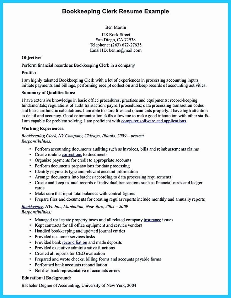 20 Bookkeeper Resume with Quickbooks Experience Job