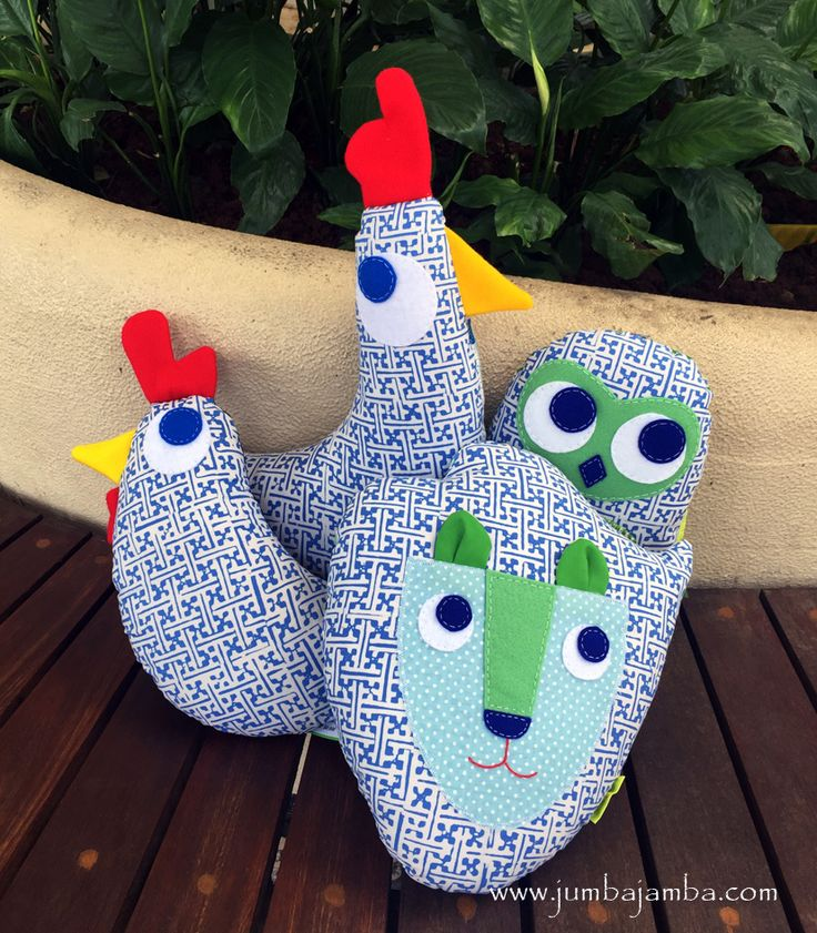 Little Rooster Pillow Midi Chicken Pillow Midi Lion Pillow Little Beo Slim Owl Pillow
