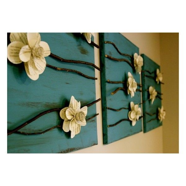 Craft Ideas / Paper flowers and branches on a canvas. found on Polyvore