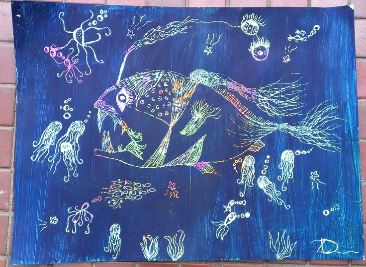 Fish Life, finished yesterday...Oil pastels, Acrylic paint, skewer used to scratch out the details of sea creatures....