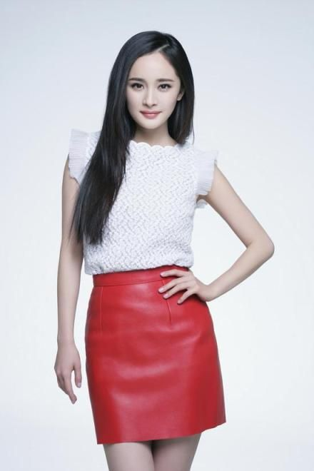 Chinese star, Yang Mi. Red mini leather skirt, flutter sleeve white top, ready to conquer.