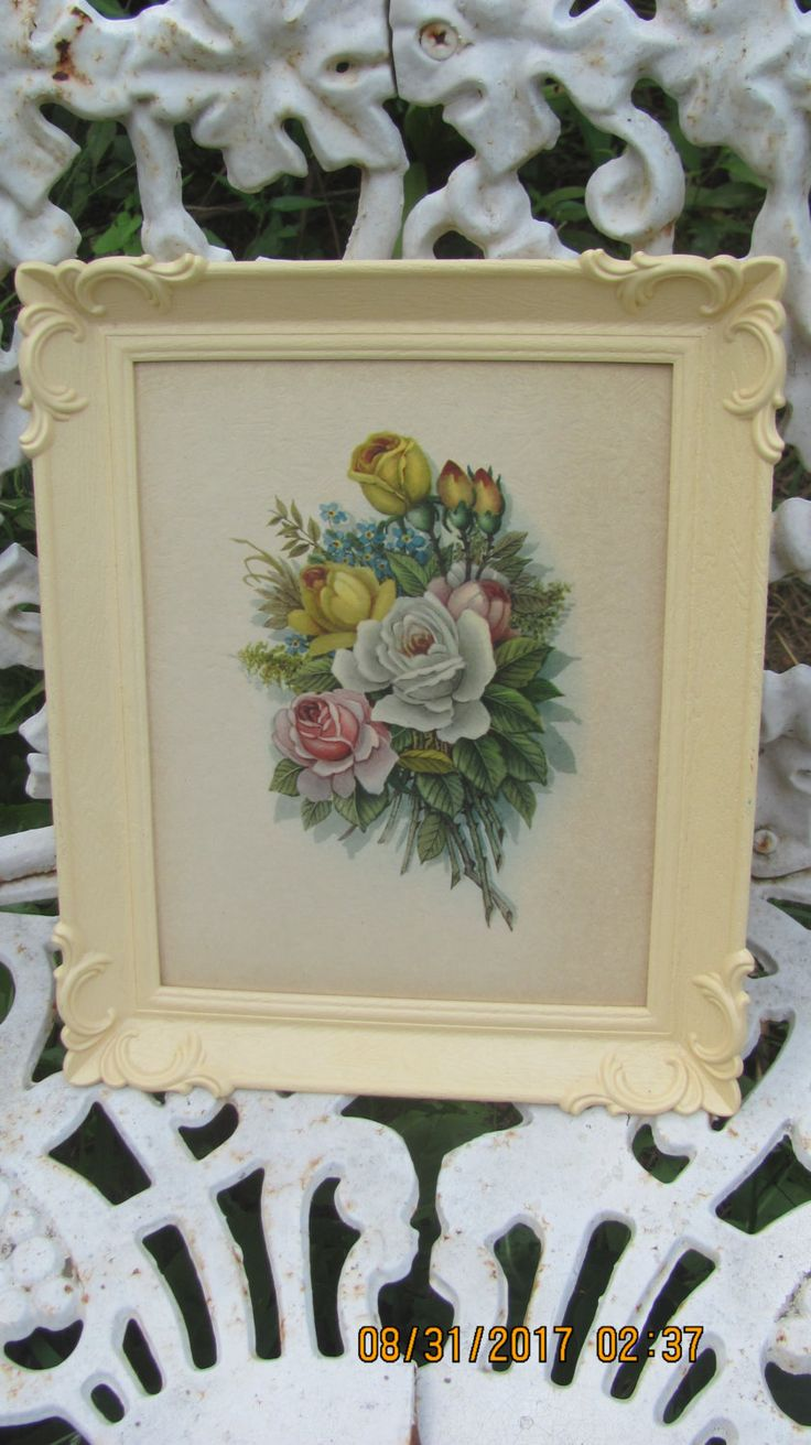 REDUCED Vtg Creamy Light Peach Color Framed Floral Bouquet Flowers Print Victorian Baroque Look Fancy Corners Plastic Picture Frame by treasuretrovemarket on Etsy