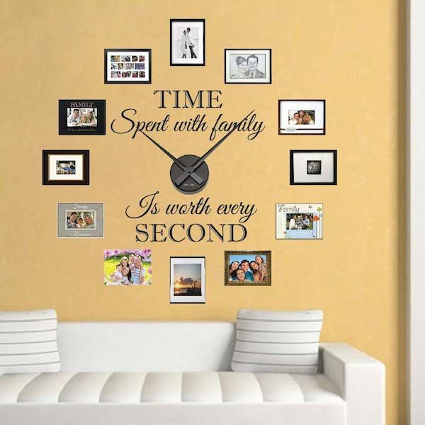 Real Family Clock Wall Decals _ Clock Stickers for Walls _ Trendy Wall Designs