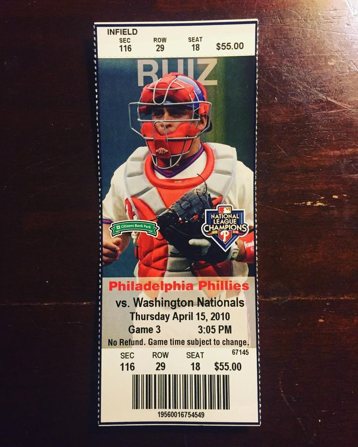 Philadelphia Phillies vs Washington Nationals Ticket Stub Game 3: April 15 2010 As much as people love ticket stubs and collect them I predict (unfortunately) they'll be a novelty in the next 10 years. . . . #phillies #philadelphiaphillies #carlosruiz #ticket #stub #ticketstub #mlb #baseball #washington #nationals #washingtonnationals #philly #philadelphia #2010 #cbp #citizensbankpark #philliesnation #philliescollection #philliesfan