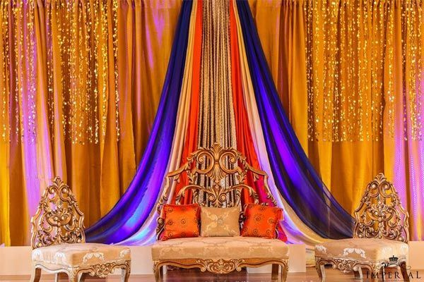 yellow orange and purple mehndi stage - Google Search