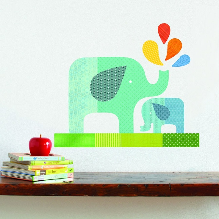 Blue Elephant Baby - Fabric Wall Decal