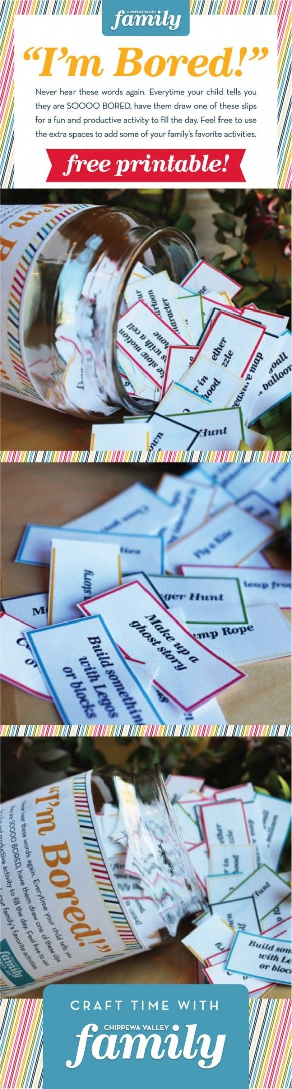 Summer Bored Jar keeps kids busy, and moms happy! FREE PRINTABLE to make your own. Super easy DIY project.