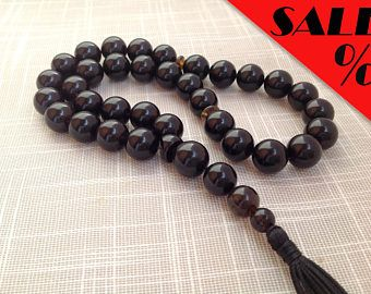 Baltic amber Islamic Prayer beads black color Muslim Rosary 33 beads, round shape الكهرمان