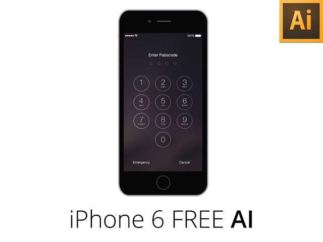 An iPhone 6 mockup + wireframe created with Adobe Illustrator. Free AI file released by Georgian-Sorin Maxim.