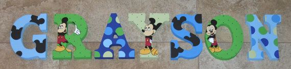 Personalized Wooden Letters for Nurseries and Kids' Rooms - Mickey Mouse Disney Theme Blue and Green Polka Dots on Etsy, $10.00