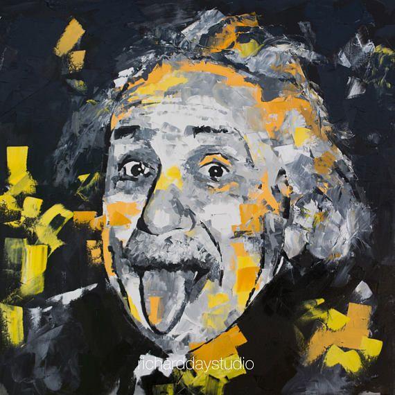 Albert Einstein Portrait, Original Oil Painting, 40\