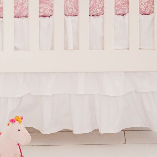 our white ruffled crib skirt is so versatile and sweet our white crib skirt coordinates