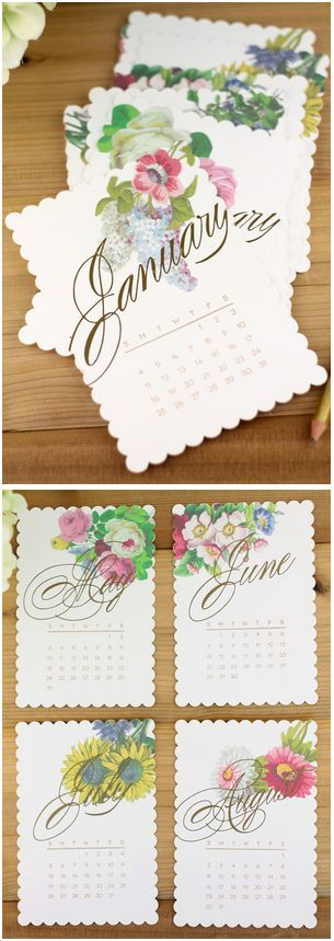 Vintage Floral Calendar made with Cricut Explore and Print then Cut feature -- Damask Love. #DesignSpaceStar Round 5