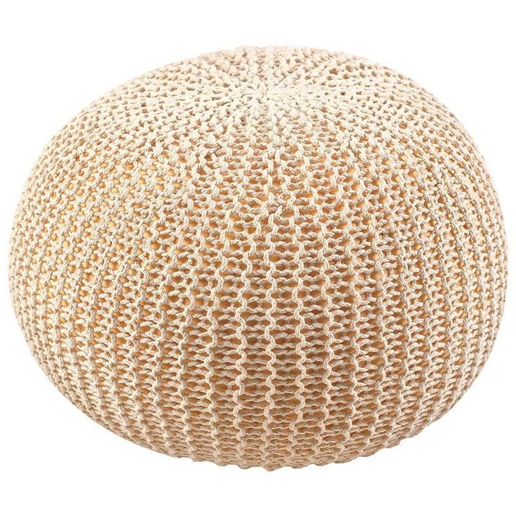 Knitted pouf in beige color www.inart.com