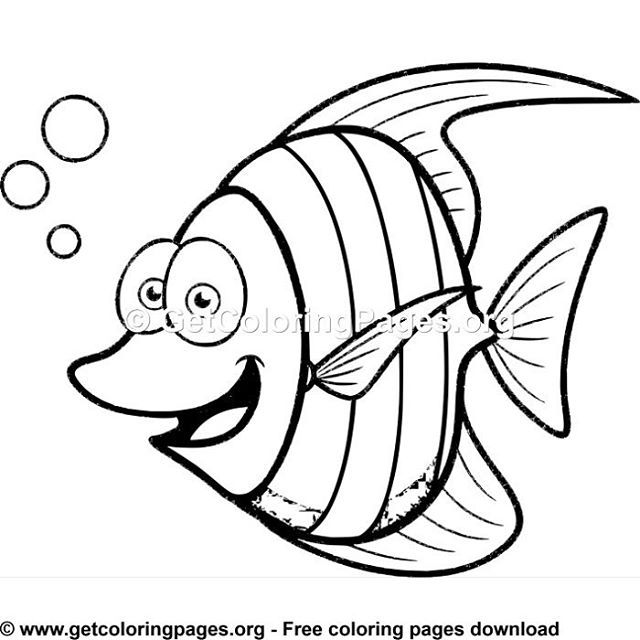 Free Coloring Pages With Images Fish Coloring Page Fish