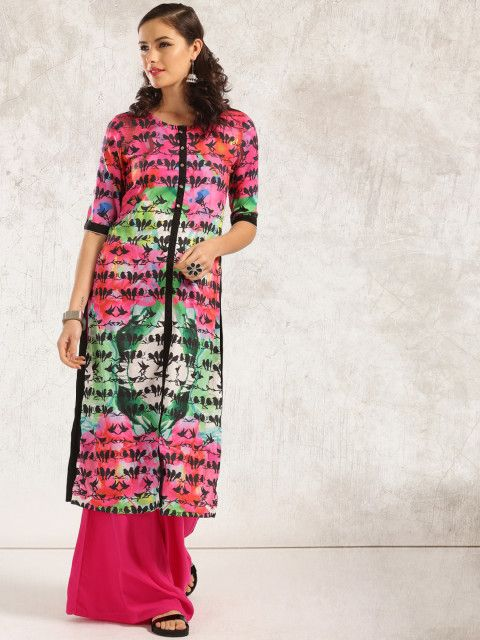 Anouk's new range of quirky printed kurtas are to die for. Make room for them in your wardrobe and mix and match with your jeans, palazzos or leggings. Kurta, women ethnic, trends to try, how to wear kurta, women's wear, Ethnic wear, kurta trends, black and pink kurta, quirky print, pink kurta