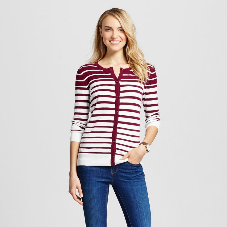 Women's Cardigans Sour Cream M - Merona, Red/Ivory