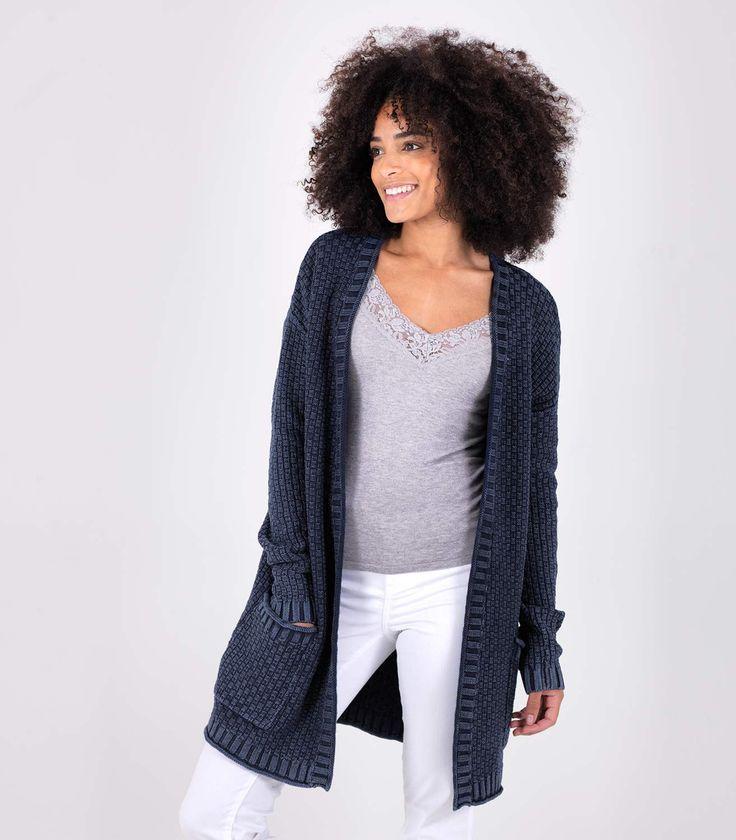 Womens 100% Cotton Denim Textured Edge to Edge Cardigan Indigo / Style Code: T120L #pure #cotton #cardigan
