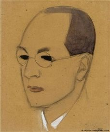Sketch for the Portrait of Jalo Sihtola, 1918 by Helene Schjerfbeck (Finnish, 1862-1946) pencil and gouache